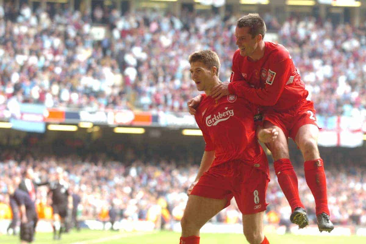 CARDIFF, WALES - SATURDAY, MAY 13th, 2006: Liverpool's Steven Gerrard celebrates scoring the third goal against West Ham United with his team-mate Jamie Carragher during the FA Cup Final at the Millennium Stadium. (Pic by Jason Roberts/Propaganda)