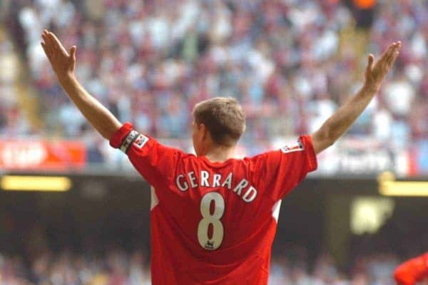 CARDIFF, WALES - SATURDAY, MAY 13th, 2006: Liverpool's Steven Gerrard celebrates scoring the third goal against West Ham United during the FA Cup Final at the Millennium Stadium. (Pic by Jason Roberts/Propaganda)
