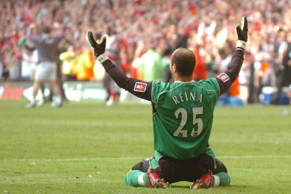CARDIFF, WALES - SATURDAY, MAY 13th, 2006: Liverpool's goakeeper Jose Reina celebrates saving the last penalty shot from West Ham United's Anton Ferdinand to win the FA Cup during the FA Cup Final at the Millennium Stadium. (Pic by Jason Roberts/Propaganda)
