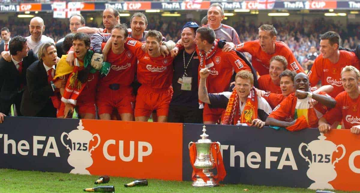 CARDIFF, WALES - SATURDAY, MAY 13th, 2006: Liverpool's Robbie Fowler, Pako Ayesteran, Boudewijn Zenden, Fernando Morientes, Jose Reina, Dietmar Hamann, Jerzy Dudek, Steven Gerrard, Jamie Carragher, Alex Miller, John Arne Riise, Peter Crouch, Jan Kromkamp, Xabi Alonso, Momo Sissoko, Steve Finnan and Sami Hyypia celebrate winning the FA Cup after beating West Ham United in the Final at the Millennium Stadium. (Pic by Jason Roberts/Propaganda)