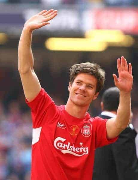 CARDIFF, WALES - SATURDAY, MAY 13th, 2006: Liverpool's Xabi Alonso celebrates winning the FA Cup after a penalties victory over West Ham United during the FA Cup Final at the Millennium Stadium. (Pic by David Rawcliffe/Propaganda)