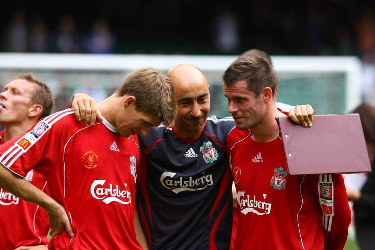 CARDIFF, WALES - SUNDAY, AUGUST 13th, 2006: Liverpool's Pako Ayesteran congratulates Steven Gerrard (L) and Jamie Carragher after beating Chelsea during the Community Shield match at the Millennium Stadium. (Pic by David Rawcliffe/Propaganda)