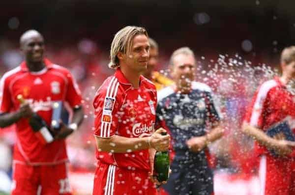 CARDIFF, WALES - SUNDAY, AUGUST 13th, 2006: Liverpool's Boudewijn Zenden celerates after beating Chelsea during the Community Shield match at the Millennium Stadium. (Pic by David Rawcliffe/Propaganda)