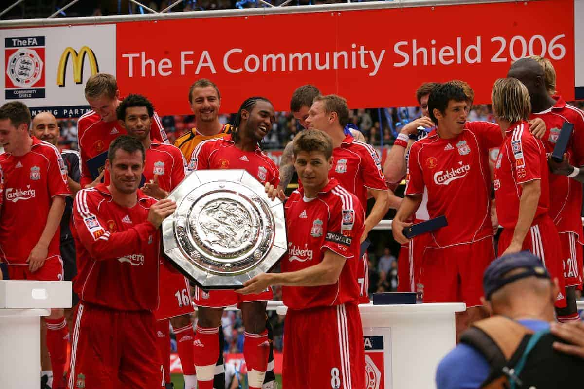 CARDIFF, WALES - SUNDAY, AUGUST 13th, 2006: Liverpool's captain Steven Gerrard and vice captain Jamie Carragher lift the Community Shield after beating Chelsea 2-1at the Millennium Stadium. (Pic by David Rawcliffe/Propaganda)