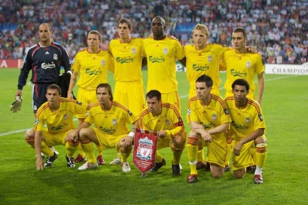 EINDHOVEN, THE NETHERLANDS - TUESDAY, SEPTEMBER 12th , 2006: Liverpool's team line-up to face PSV Eindhoven during the opening Group C UEFA Champions League match at the Philips Stadium. ..Back row L-R: goalkeeper Jose Reina, Craig Bellamy, Daniel Agger, Mohamed Sissoko, Dirk Kuyt, Fabio Aurelio. Front row L-R: Stephen Warnock, Boudewijn Zenden, Jamie Carragher, Steve Finnan and Jermaine Pennant. (Pic by David Rawcliffe/Propaganda)
