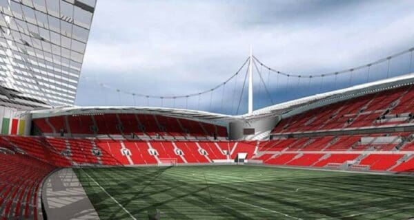 LIVERPOOL, ENGLAND - SEPTEMBER 2006: An computer generated view towards the North West corner of the proposed new 60,000 capacity stadium for Liverpool FC to be built in Stanley Park. (Pic by Liverpool FC/Propaganda)