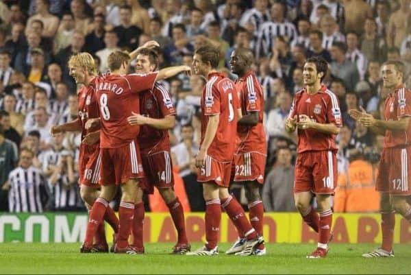 LIVERPOOL, ENGLAND - WEDNESDAY, SEPTEMBER 20th, 2006: Liverpool's Xabi Alonso celebrates amazing goal against Newcastle United with his team-mates during the Premiership match at Anfield. (Pic by David Rawcliffe/Propaganda)