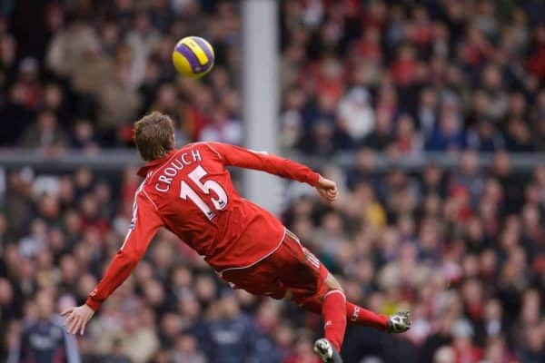 Liverpool, England - Monday, January 1, 2007: Liverpool's Peter Crouch scores a spectacular overhead kick goal against Bolton Wanderers during the Premiership match at Anfield. (Pic by David Rawcliffe/Propaganda)