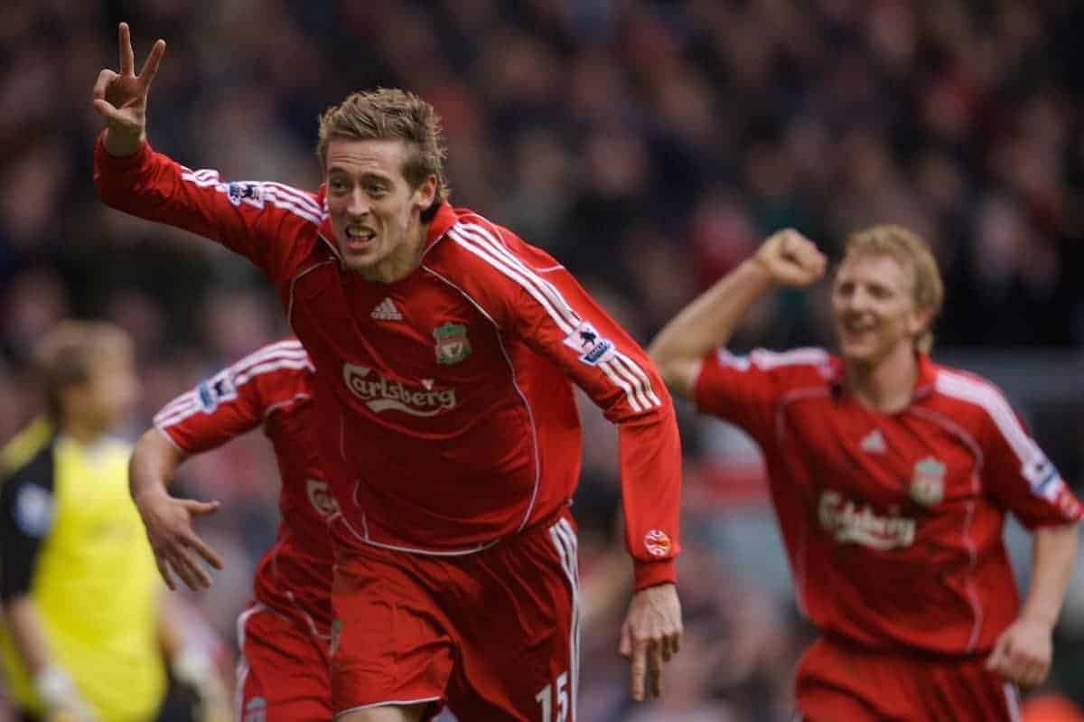 Liverpool, England - Monday, January 1, 2007: Liverpool's Peter Crouch celebrates scoring a spectacular overhead kick goal against Bolton Wanderers during the Premiership match at Anfield. (Pic by David Rawcliffe/Propaganda)