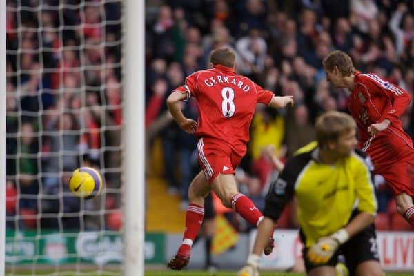 Liverpool, England - Monday, January 1, 2007: Liverpool's Steven Gerrard celebrates scoring the second goal as Bolton Wanderers' goalkeeper Jussi Jaaskelainen looks dejected during the Premiership match at Anfield. (Pic by David Rawcliffe/Propaganda)