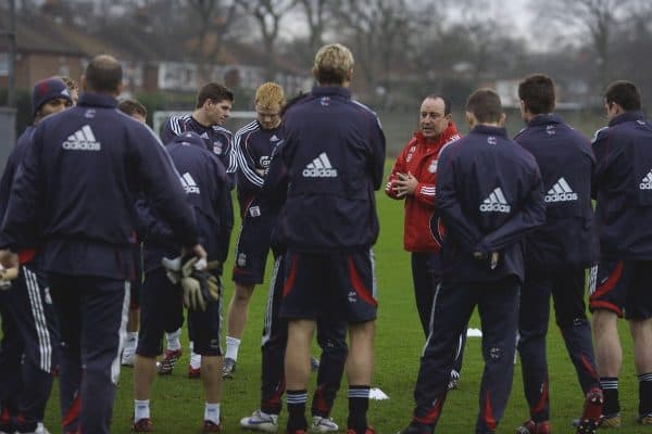 Liverpool, England - Friday, January 1, 2007: Liverpool's manager Rafael Benitez gives a team talk before training at Melwood ahead of the all Premiership FA Cup 3rd Round match against Arsenal at Anfield. (Pic by David Rawcliffe/Propaganda)