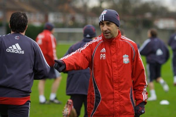 Liverpool, England - Friday, January 1, 2007: Liverpool's assistant managaer Pako Ayesteran training at Melwood ahead of the all Premiership FA Cup 3rd Round match against Arsenal at Anfield. (Pic by David Rawcliffe/Propaganda)