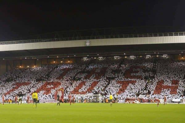 Liverpool fans on the famous Spion Kop hold up a mosaic reading 'The Truth' for six minutes to remember the 96 supporters who dies at the Hillsborough disaster in 1989 before the FA Cup 3rd Round match against Arsenal at Anfield. (Pic by David Rawcliffe/Propaganda)