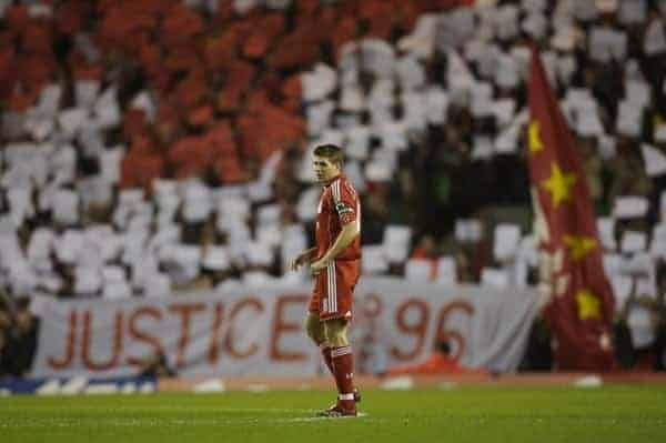 Liverpool, England - Saturday, January 6, 2007: Liverpool's captain Steven Gerrard on as the fans on the Spion Kop hold up a mosaic calling for Justice for the 96 supporters who died at the Hillsborough disaster in 1989 during the FA Cup 3rd Round match against Arsenal at Anfield. (Pic by David Rawcliffe/Propaganda)