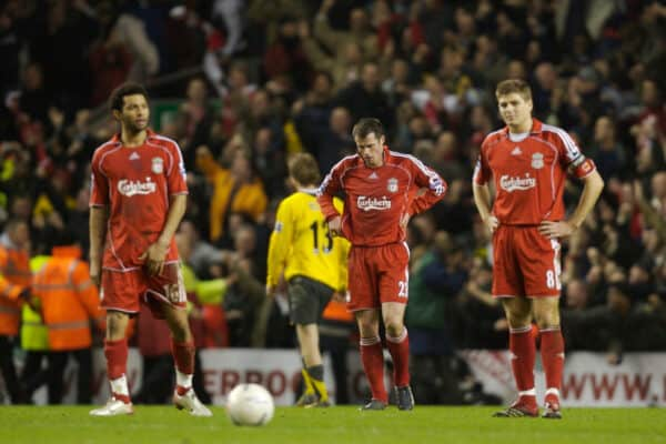 Liverpool, England - Saturday 6th January 2007: Liverpool's Jermaine Pennant, Jamie Carragher, Steven Gerrard and Dirk Kuyt look dejected as Arsenal's Thierry Henry celebrates the third goal during the FA Cup 3rd round match at Anfield.  (Image by David Rawcliffe / Propaganda)