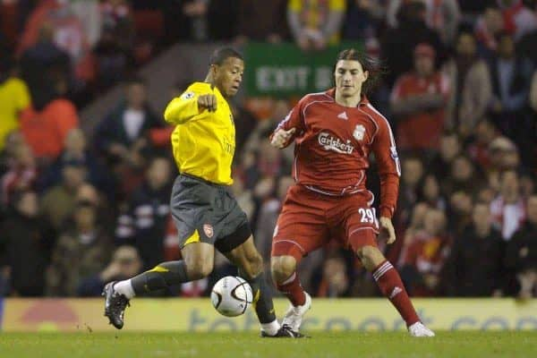 Liverpool, England - Tuesday, January 9, 2007: Liverpool's Gabriel Paletta and Arsenal's Julio Baptista during the League Cup Quarter-Final match at Anfield. (Pic by David Rawcliffe/Propaganda)