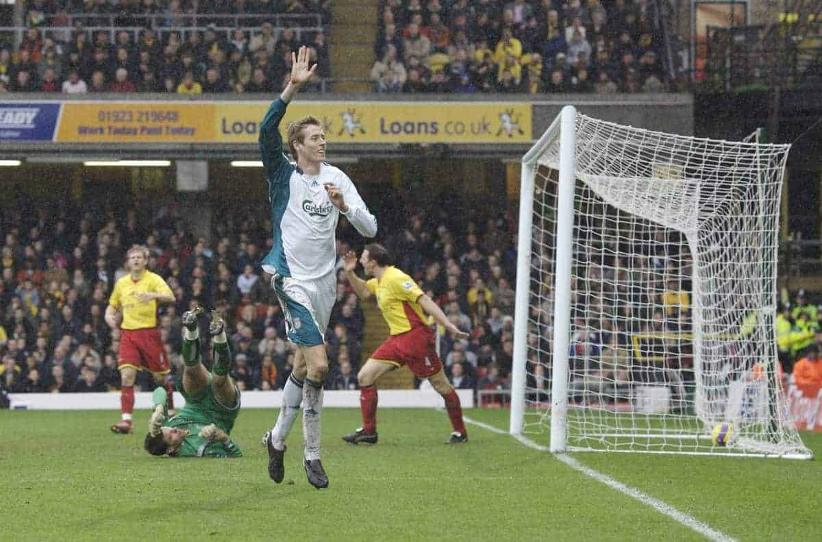 Watford, England - Saturday, January 13, 2007: Liverpool's Peter Crouch celebrates scoring the third goal, his second, against Watford during the Premiership match at Vicarage Road. (Pic by David Rawcliffe/Propaganda)