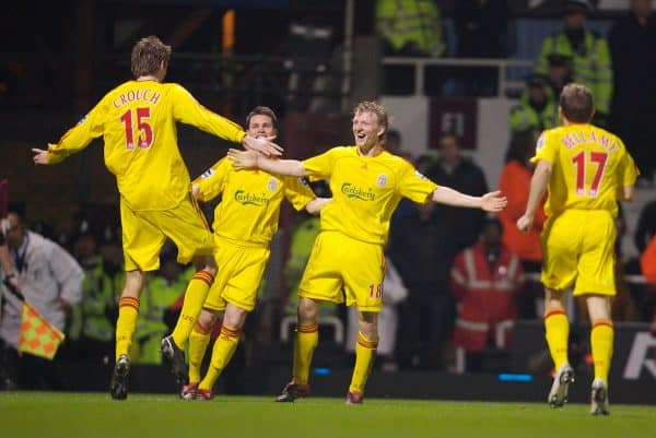 London, England - Tuesday, January 30, 2007: Liverpool's Dirk Kuyt celebrates scoring the opening goal against West Ham United with team-mates Peter Crouch and Steve Finnan during the Premiership match at Upton Park. (Pic by David Rawcliffe/Propaganda)