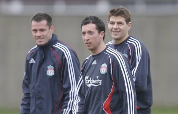 Liverpool, England - Thursday, February 1, 2007: Liverpool's three Scousers Jamie Carragher, Robbie Fowler and captain Steven Gerrard training at Melwood ahead of the Merseyside Derby match against Everton on Saturday. (Pic by David Rawcliffe/Propaganda)