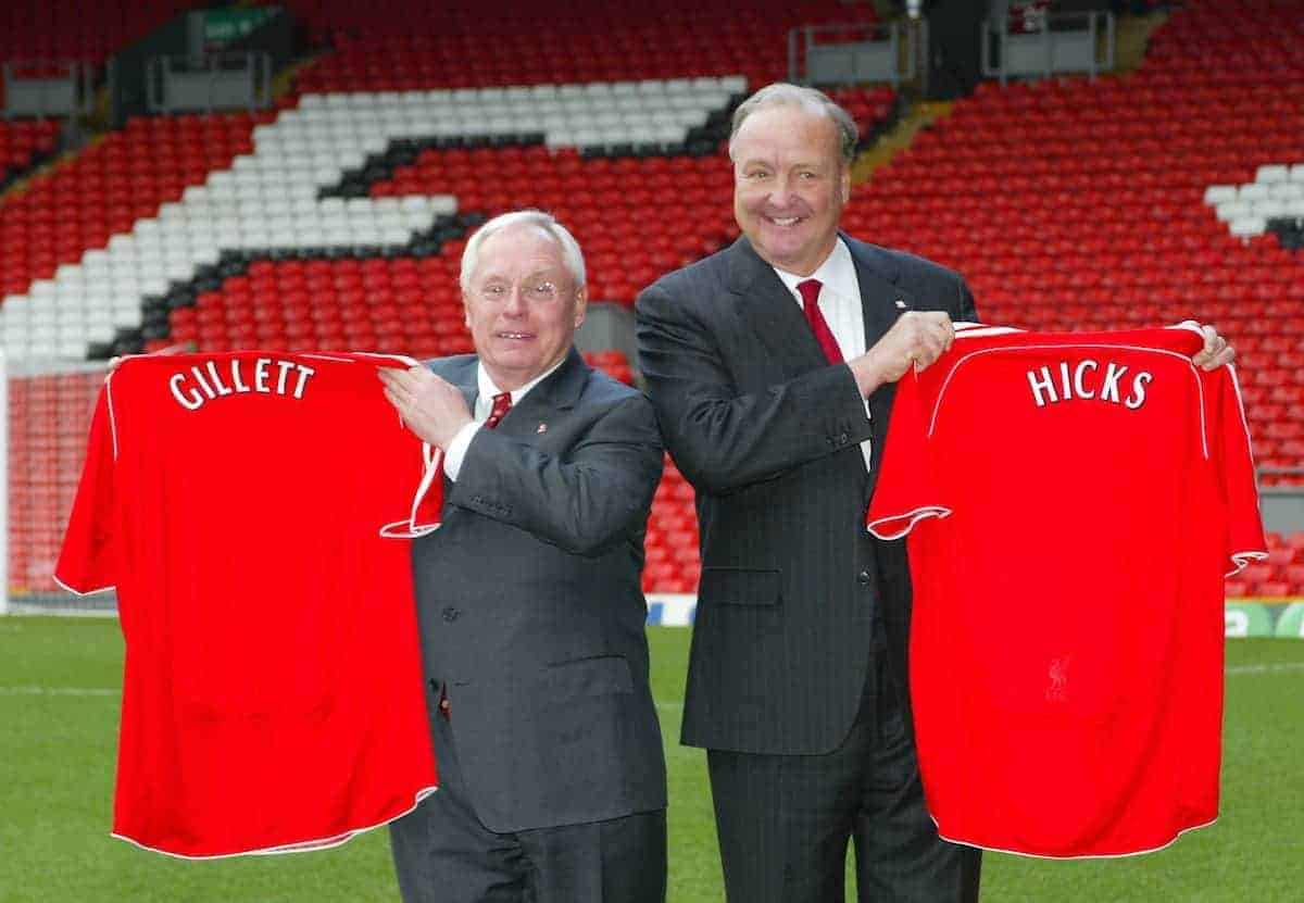 Liverpool, England - Tuesday, February 6th, 2007: American tycoons George Gillett (L) and Tom Hicks (R) proudly hold up Liverpool's famous red shirt after announcing their take-over of Liverpool Football Club in a deal worth around £470 million. Texan billionaire Hicks, who owns the Dallas Stars ice hockey team and the Texas Rangers baseball team, has teamed up with Montreal Canadiens owner Gillett to put together a joint £450m package to buy out shareholders, service the club's existing debt and provide funding for the planned new stadium in Stanley Park. (Pic by Dave Kendall/Propaganda)