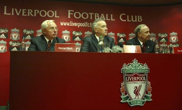 Liverpool, England - Tuesday, February 6th, 2007: Liverpool FC Chief-Executive Rick Parry (C) with American tycoons George Gillett (L) and Tom Hicks (R) after announcing their take-over of Liverpool Football Club in a deal worth around £470 million. Texan billionaire Hicks, who owns the Dallas Stars ice hockey team and the Texas Rangers baseball team, has teamed up with Montreal Canadiens owner Gillett to put together a joint £450m package to buy out shareholders, service the club's existing debt and provide funding for the planned new stadium in Stanley Park. (Pic by Dave Kendall/Propaganda)