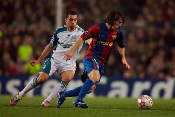 Barcelona, Spain - Wednesday, February 21, 2007: Liverpool's Alvaro Arbeloa and FC Barcelona's Lionel Messi during the UEFA Champions League First Knockout Round 1st Leg match at the Nou Camp. (Pic by David Rawcliffe/Propaganda)