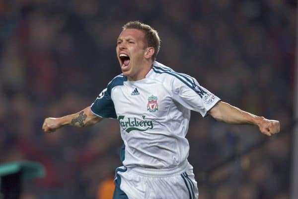 Liverpool's Craig Bellamy celebrates scoring the first goal against FC Barcelona during the UEFA Champions League First Knockout Round 1st Leg match at the Nou Camp. (Pic by David Rawcliffe/Propaganda)