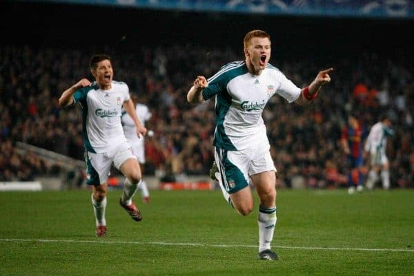 Liverpool's John Arne Riise celebrates winning the first goal against FC Barcelona during the UEFA Champions League First Knockout Round 1st Leg match at the Nou Camp. (Pic by David Rawcliffe/Propaganda)
