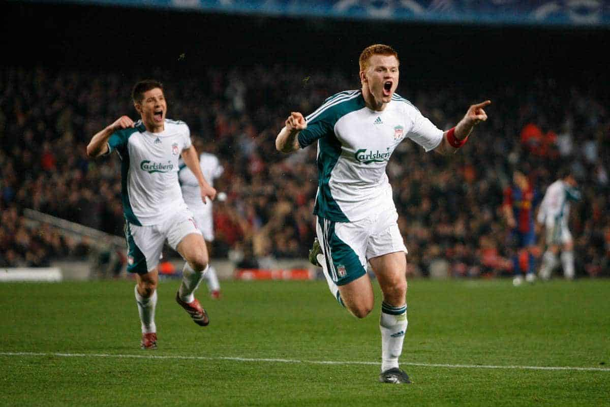 Barcelona, Spain - Wednesday, February 21, 2007: Liverpool's John Arne Riise celebrates winning the first goal against FC Barcelona during the UEFA Champions League First Knockout Round 1st Leg match at the Nou Camp. (Pic by David Rawcliffe/Propaganda)