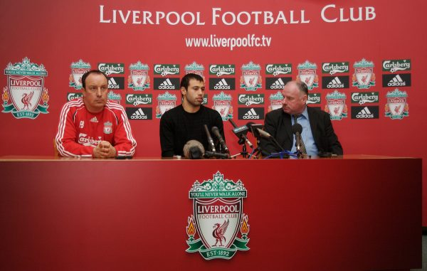 Liverpool, England - Friday, February 23, 2007: Liverpool's new signing Javier Mascherano with manager manager Rafael Benitez at a photo-call at the club's Melwood Training Ground. (Pic by David Rawcliffe/Propaganda)