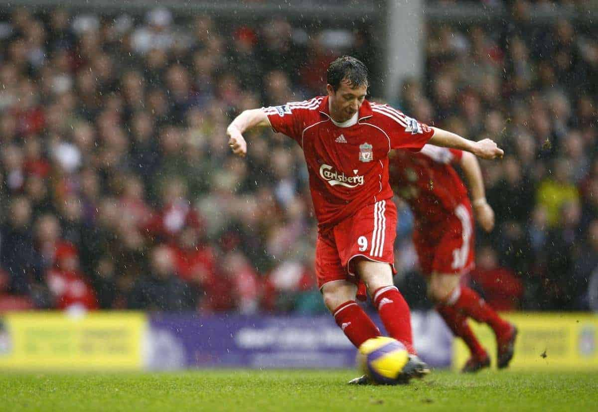 Liverpool's Robbie Fowler scores the opening goal against Sheffield United from the penalty spot during the Premiership match at Anfield. (Pic by David Rawcliffe/Propaganda)