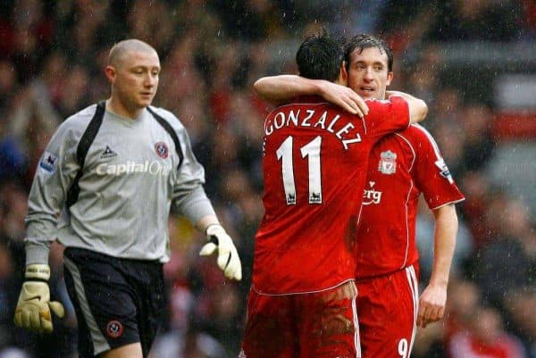 Liverpool, England - Saturday, February 24, 2007: Liverpool's Robbie Fowler celebrates scoring the opening goal against Sheffield United from a penalty kick with his team-mate Mark Gonzalez, as goalkeeper Patrick Kenny looks dejected during the Premiership match at Anfield. (Pic by David Rawcliffe/Propaganda)