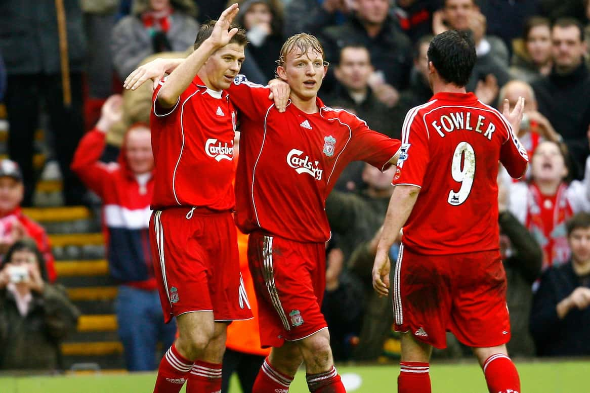 Liverpool, England - Saturday, February 24, 2007: Liverpool's captain Steven Gerrard celebrates scoring the fourth goal against Sheffield United, with his team-mate Robbie Fowler and Dirk Kuyt during the Premiership match at Anfield. (Pic by David Rawcliffe/Propaganda)