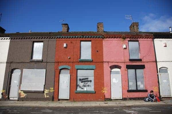 Liverpool, England - Saturday, March 3, 2007:  Derelict houses outside Anfield, home of Liverpool FC. (Pic by David Rawcliffe/Propaganda)