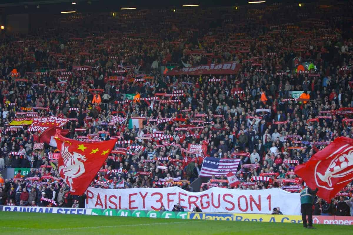 Liverpool, England - Saturday, March 3, 2007: Liverpool fans on the famous Spion Kop before the Premiership match against Manchester United at Anfield. (Pic by David Rawcliffe/Propaganda)