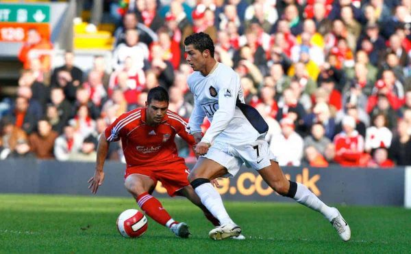 Liverpool, England - Saturday, March 3, 2007:  Liverpool's Mark Gonzalez and Manchester United's Cristiano Ronaldo during the Premiership match at Anfield. (Pic by David Rawcliffe/Propaganda)