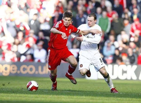 Liverpool, England - Saturday, March 3, 2007: Liverpool's captain Steven Gerrard and Manchester United's Wayne Rooney during the Premiership match at Anfield. (Pic by David Rawcliffe/Propaganda)