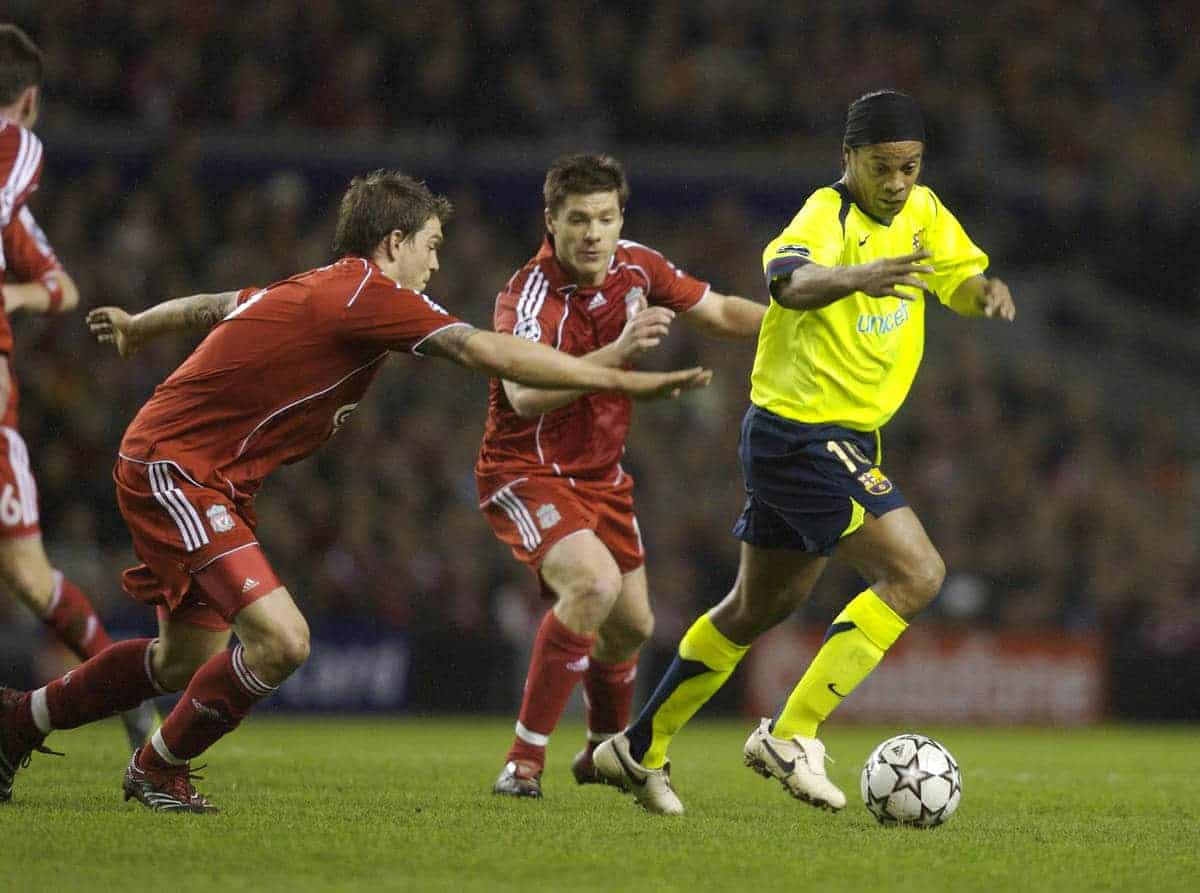 Liverpool, England - Tuesday, March 6, 2007: Liverpool's Daniel Agger and Xabi Alonso chase FC Barcelona's Ronaldinho during the UEFA Champions League First Knockout Round 2nd Leg at Anfield. (Pic by David Rawcliffe/Propaganda)