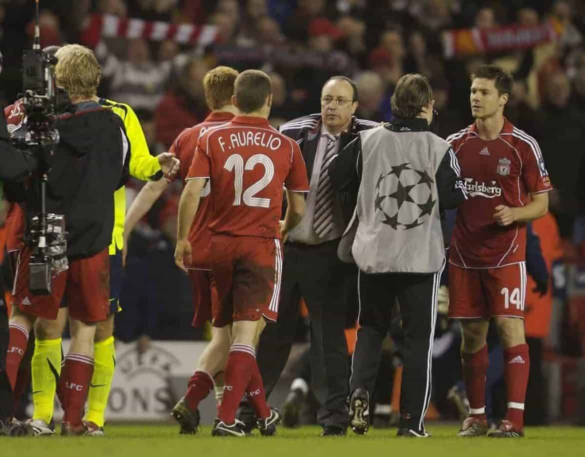 Liverpool, England - Tuesday, March 6, 2007: Liverpool's manager Rafael Benitez congratulates his players at the final whistle after knocking-out current holders FC Barcelona 2-2 on aggregate during the UEFA Champions League First Knockout Round 2nd Leg at Anfield. (Pic by David Rawcliffe/Propaganda)
