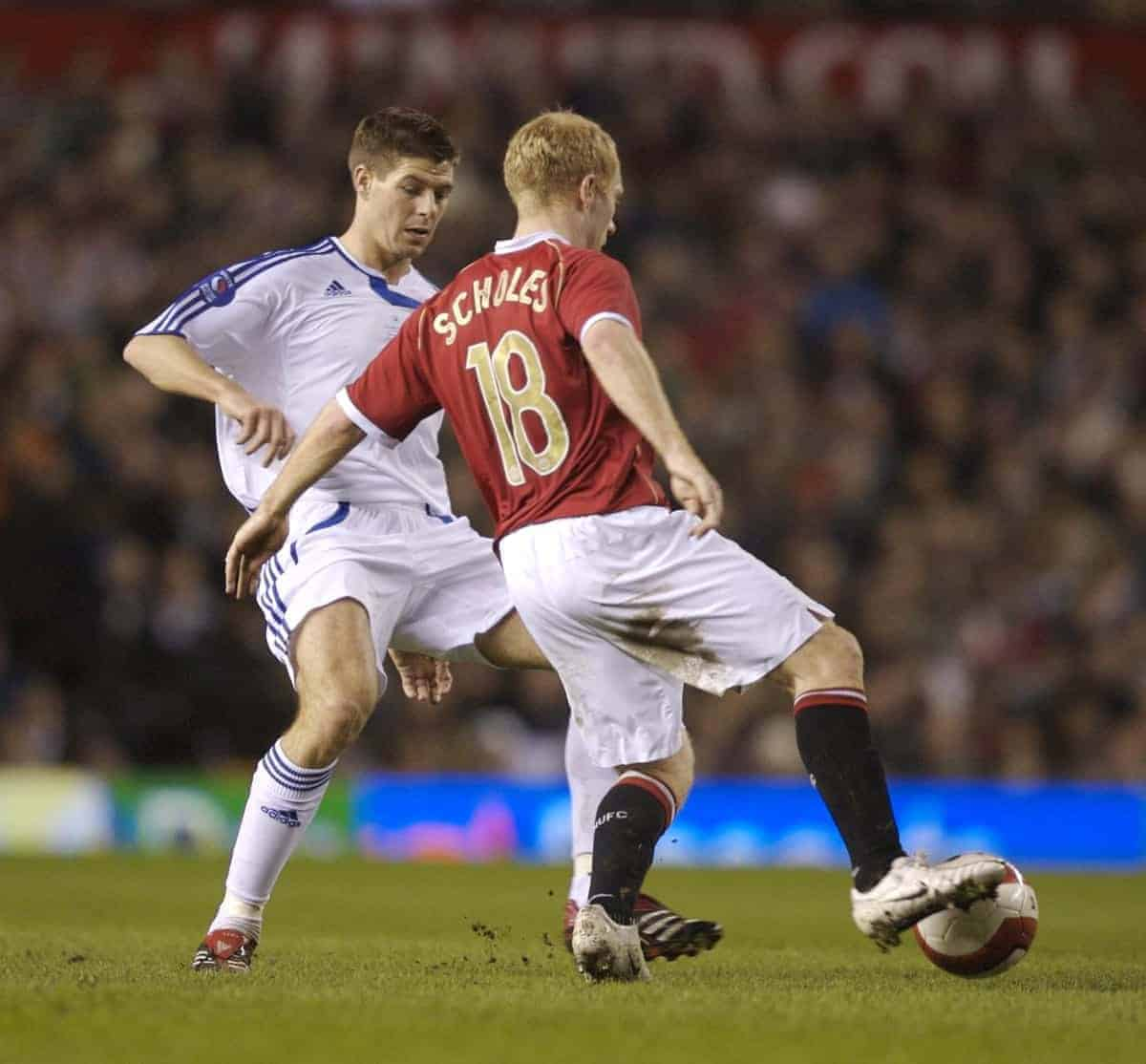 Manchester, England - Tuesday, March 13, 2007: Manchester United's Paul Scholes and Europe XI's Steven Gerrard during the UEFA Celebration Match at Old Trafford. (Pic by David Rawcliffe/Propaganda)