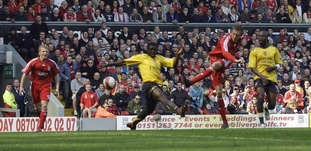Liverpool's Peter Crouch scores the fourth goal and completes his hat-trick against Arsenal during the Premiership match at Anfield. (Pic by David Rawcliffe/Propaganda)