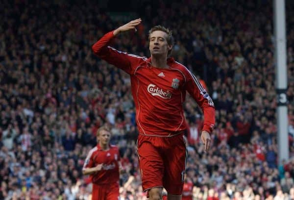 Liverpool, England - Saturday, March 3, 2007: Liverpool's Peter Crouch celebrates scoring the fourth goal and completes his hat-trick against Arsenal during the Premiership match at Anfield. (Pic by David Rawcliffe/Propaganda)