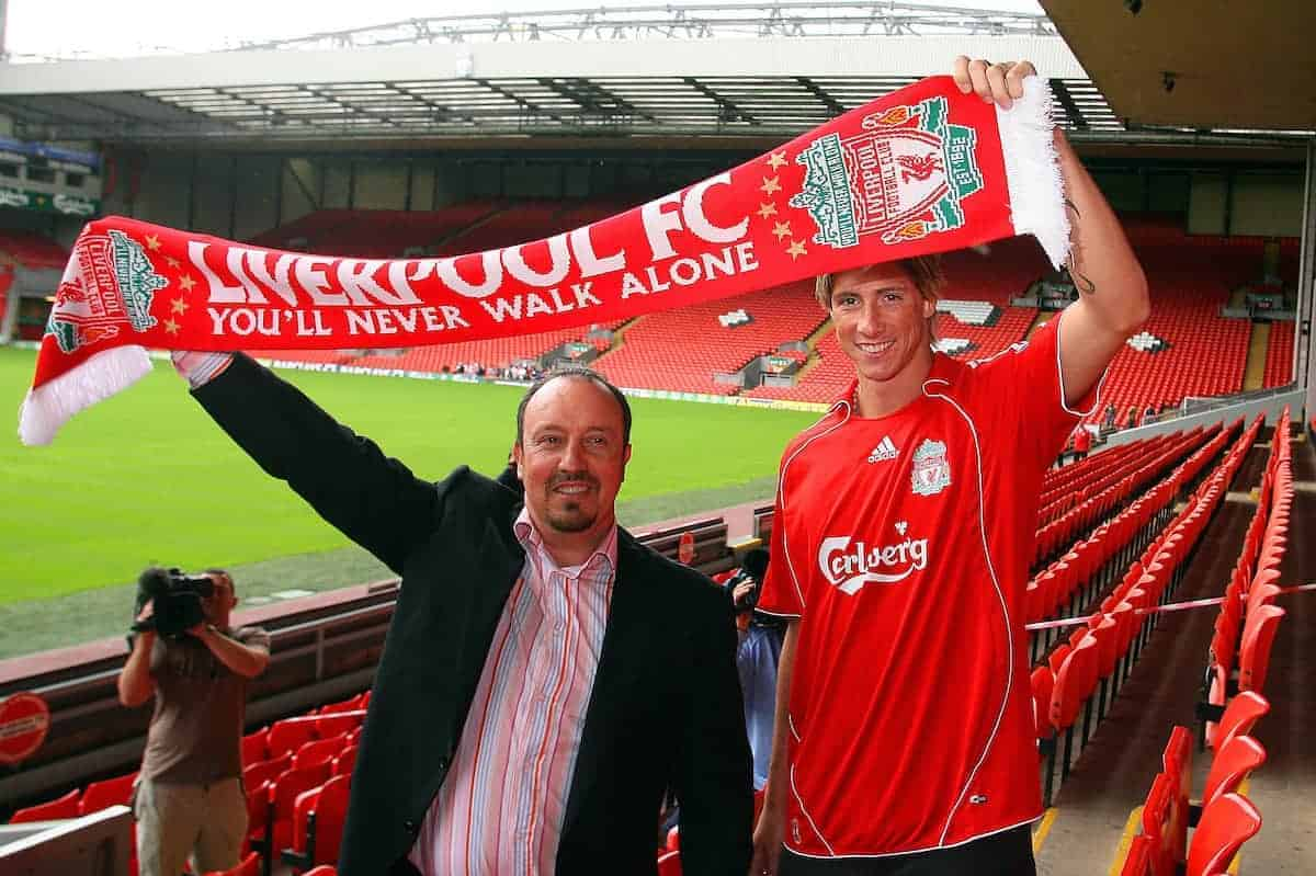 Liverpool's new signing Fernando Torres with manage Rafael Benitez at Anfield following his £26m transfer from Atletico Madird, a club record transfer fee. (Photo by David Rawcliffe/Propaganda)