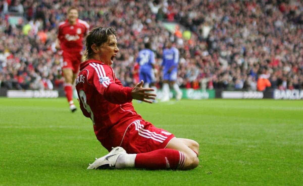 Liverpool's Fernando Torres celebrates scoring the opening goal against Chelsea during the Premiership match at Anfield. (Photo by David Rawcliffe/Propaganda)