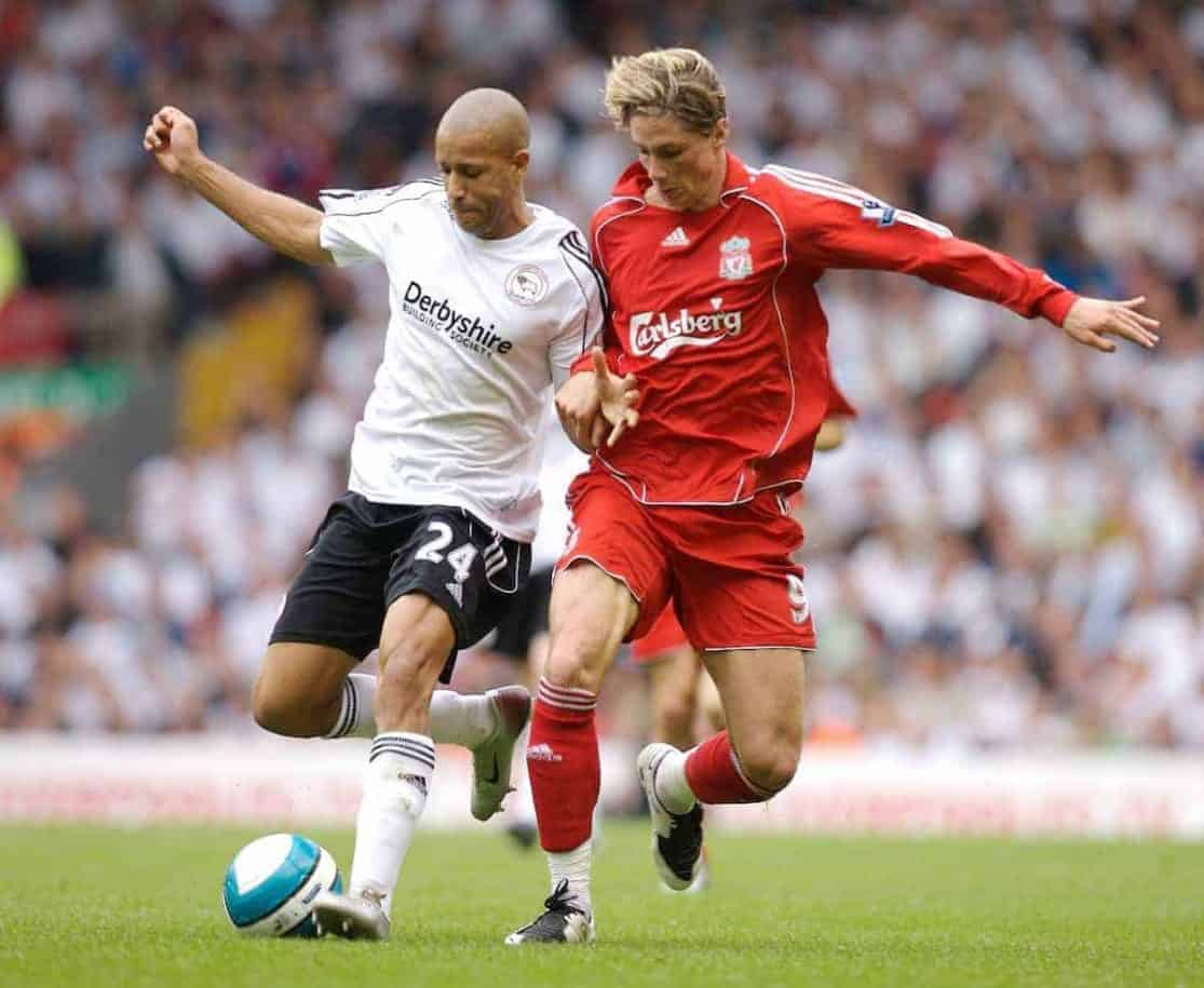 Liverpool, England - Saturday, September 1, 2007: Liverpool's Fernando Torres and Derby County's Michael Johnson during the Premiership match at Anfield. (Photo by David Rawcliffe/Propaganda)