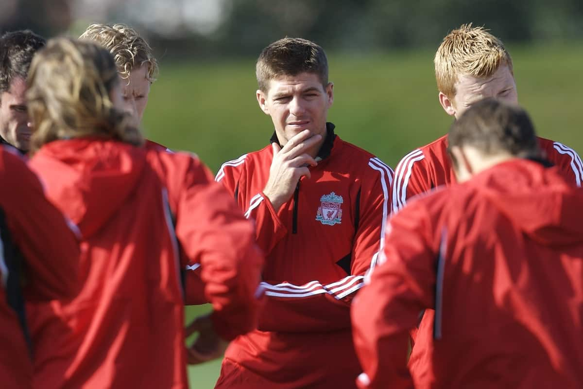 Liverpool, England - Tuesday, October 2, 2007: Liverpool's Steven Gerrard MBE during training at Melwood ahead of the UEFA Champions League Group A match against Olympique de Marseille. (Photo by David Rawcliffe/Propaganda)