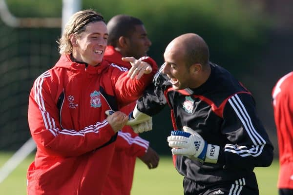 Liverpool, England - Tuesday, October 2, 2007: Liverpool's Fernando Torres and goalkeeper Jose Pepe Reina training at Melwood ahead of the UEFA Champions League Group A match against Olympique de Marseille. (Photo by David Rawcliffe/Propaganda)