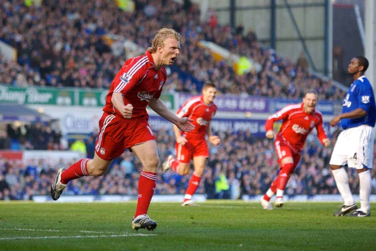 Liverpool, England - Saturday, October 20, 2007: Liverpool's Dirk Kuyt celebrates scoring the equaliser from the penalty spot against Everton during the 206th Merseyside Derby match at Goodison Park. (Photo by David Rawcliffe/Propaganda)