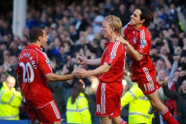 Liverpool, England - Saturday, October 20, 2007: Liverpool's Dirk Kuyt celebrates scoring the equaliser from the penalty spot against Everton with team-mates Yossi Benayoun and Javier Mascherano during the 206th Merseyside Derby match at Goodison Park. (Photo by David Rawcliffe/Propaganda)