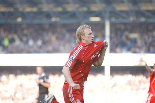 Liverpool, England - Saturday, October 20, 2007: Liverpool's Dirk Kuyt celebrates scoring the winning goal from the penalty spot against Everton during the 206th Merseyside Derby match at Goodison Park. (Photo by David Rawcliffe/Propaganda)